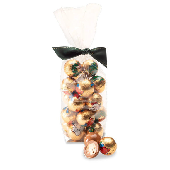 milk chocolate foiled christmas baubles with white caramel flavoured centres and croquants packed in a 220g bag