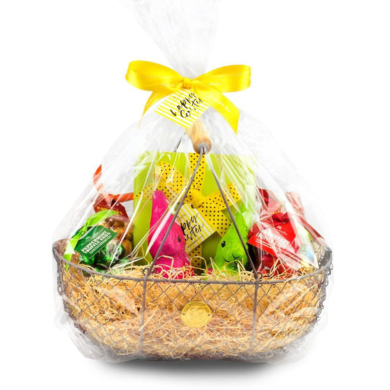 Large chocolate wire Easter hamper from with chocolate Easter eggs, bunnies and other treats.