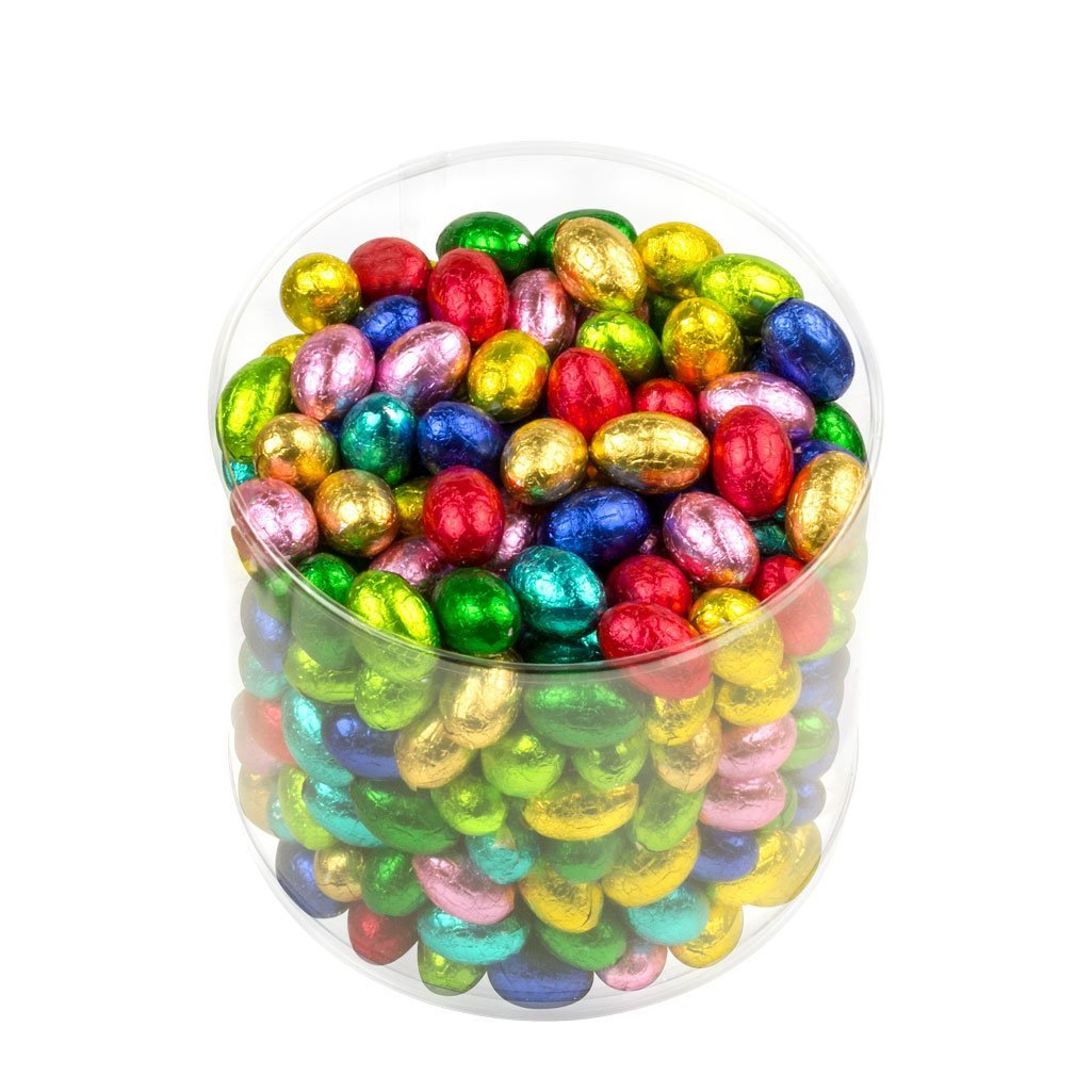 Mini Chocolate Easter Eggs in colourful foils in a tub of 2.5kgs (332 pieces)