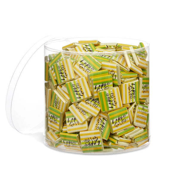 Milk Chocolate tablets in silver foil with a stripy yellow, green and orange Happy Easter wrapper in a tub of 300.