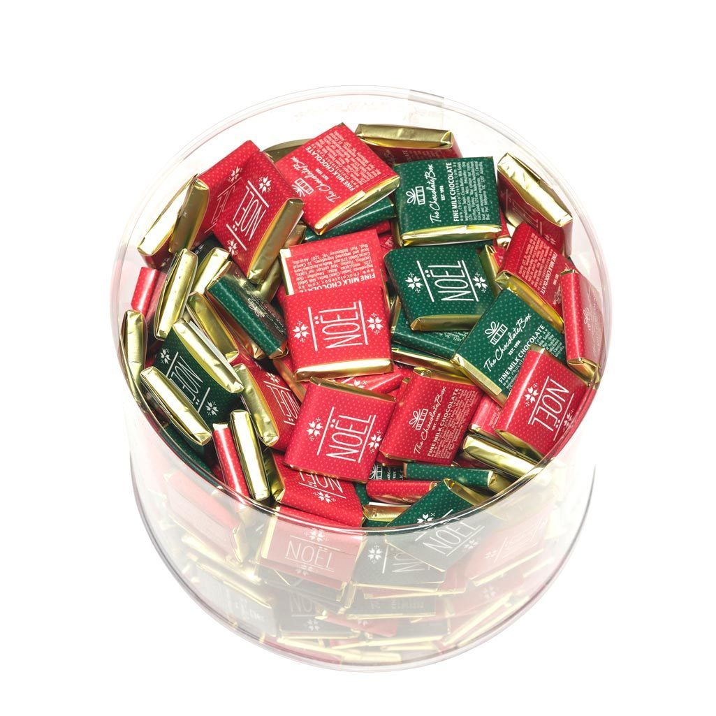 clear tub of 100 wrapped milk chocolate tablets in mixed red and green noel designs