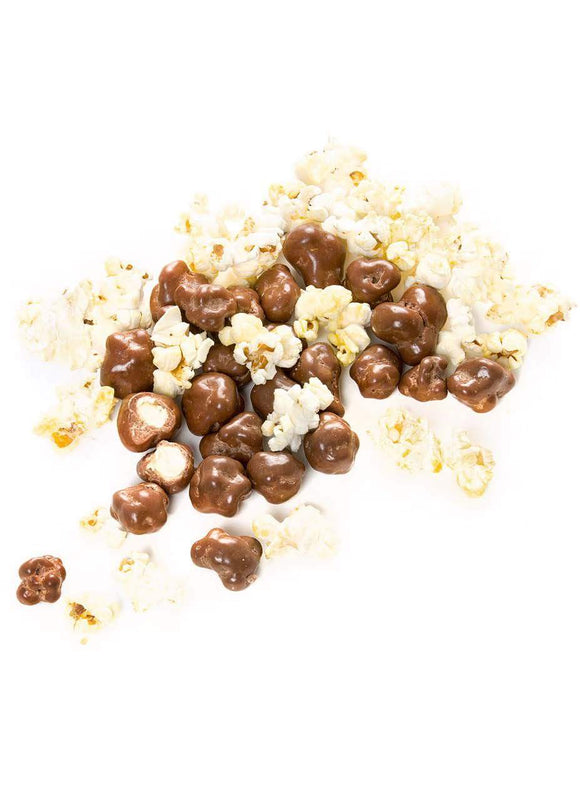 Milk, Dark and White chocolate enrobed caramel popcorn