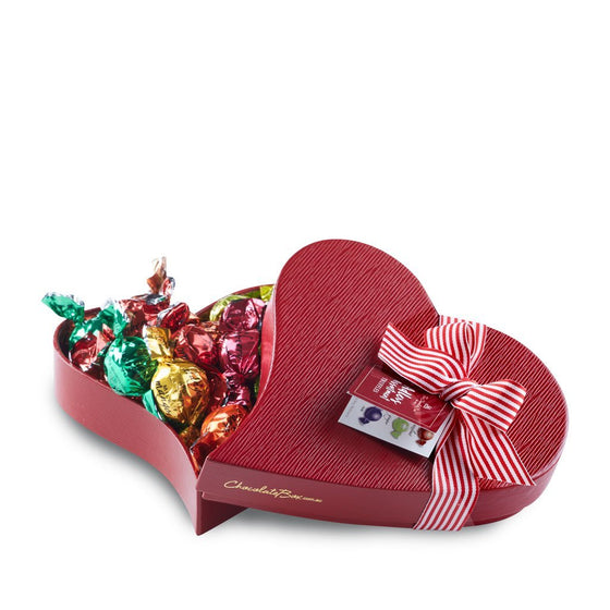 Adlers Assortment twistwrap chocolates in small red keepsake heart shaped box.