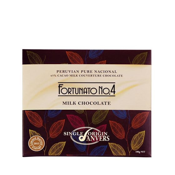 Fortunato no.4 peruvian single origin pure cacional milk chocolate from anvers