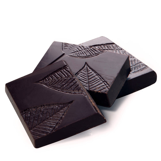 deep dark chocolate snaps crisply into three pieces