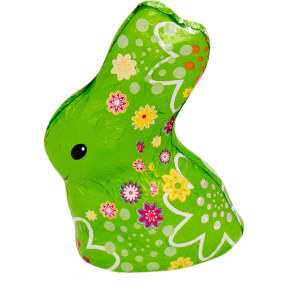 Be Happy Fair Trade Milk Chocolate Bunny available in pink, orange, yellow or light green patterned foil