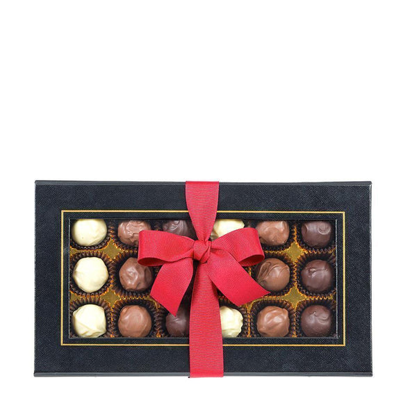 Happy Easter Tag and Ribbon Edition of the Black Box Chocolate Truffles Alcohol Free 18 piece box.