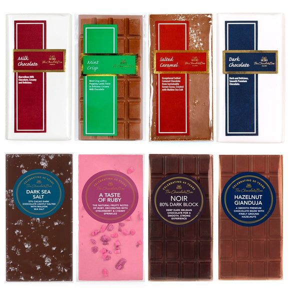 8 Chocolate Blocks Bundle (Milk, Dark, Noir, Mint, Ruby, Caramel, Sea Salt, Gianduja)