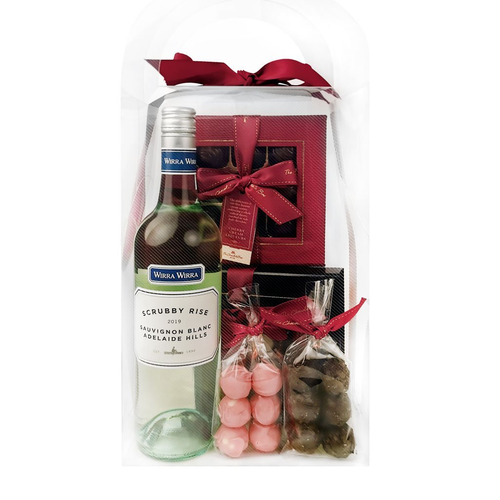 boozy show bag with wine and cherry liqueurs, and truffles