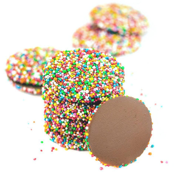 milk chocolate flat disks with sparkles candy (freckles)