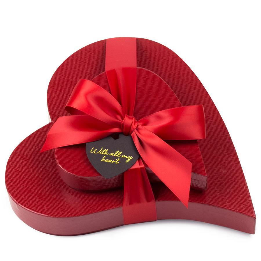 Adlers Assortment & Black Box Chocolate Truffles Heart Boxes Stack of two red leatherette boxes tied with red satin ribbon