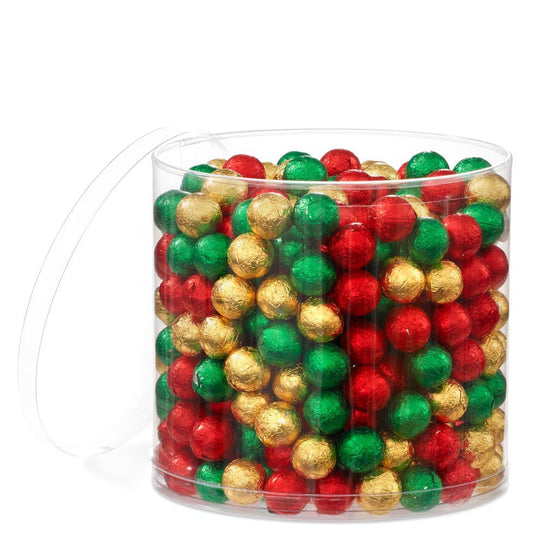 solid milk chocolate foiled christmas baubles tub