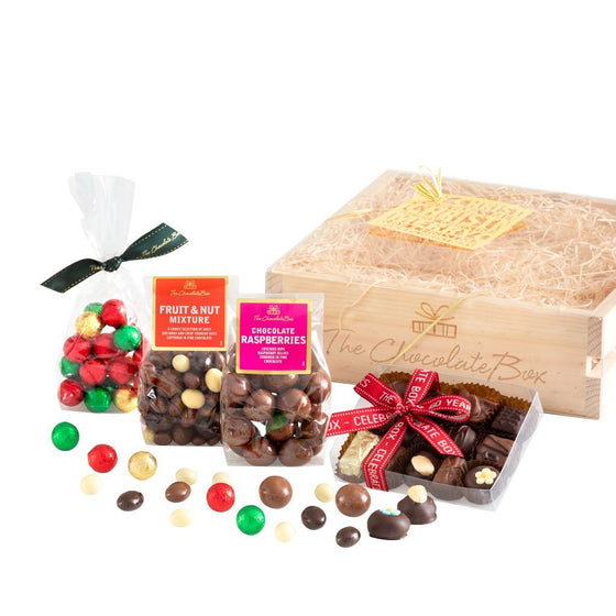 The Christmas Crate with Raspberries, Fruit and Nut and Chocolate Baubles