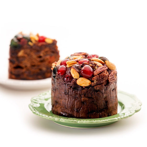 Dark Christmas Fruit Cake Topped with Nuts and Glace Cherries, Small - Christmas