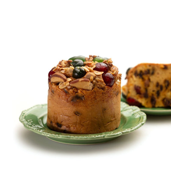 Golden Christmas Fruit Cake with Nuts and Glace Cherries, Small Size - Christmas