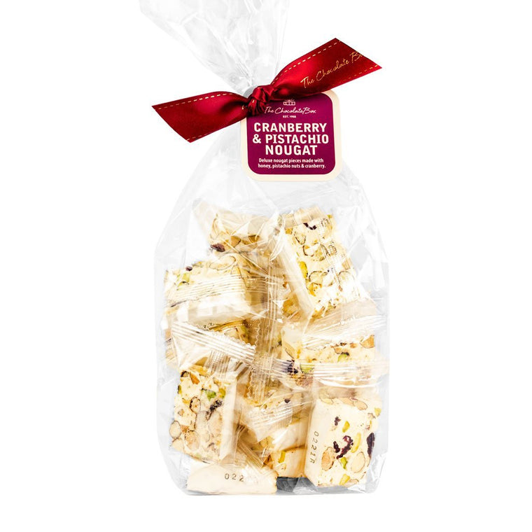 cranberry pistachio nougat pieces