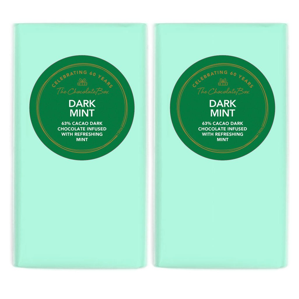 Dark chocolate mint block in a soft minty green paper wrapper.