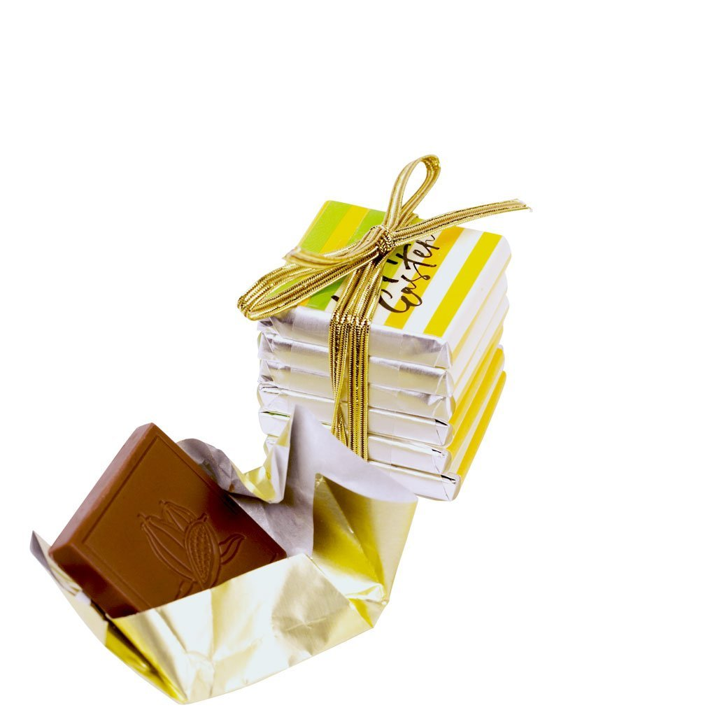 Easter milk chocolate 6 piece tablet stack tied with stretchy gold ribbon with Happy Easter stripy design.