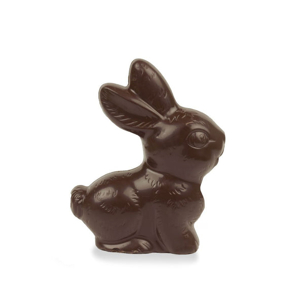 Vegan dark chocolate sitting bunny in clear acetate box