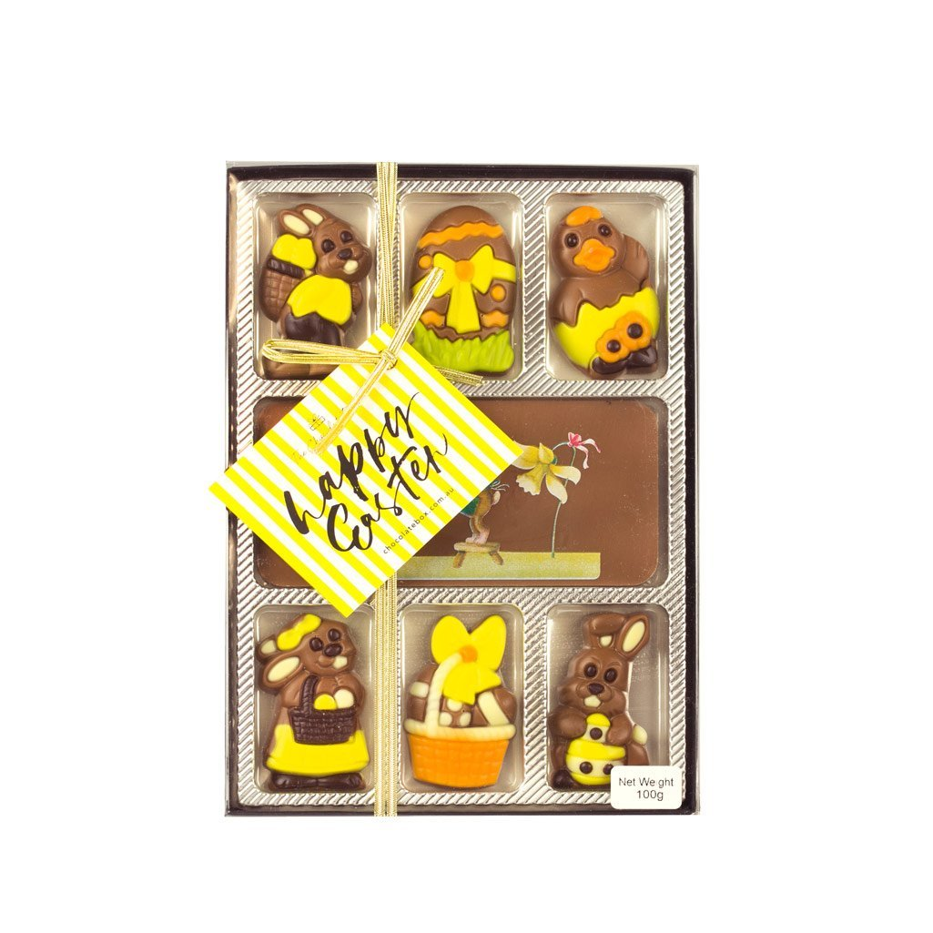 7 piece milk chocolate novelty gift pack flat box