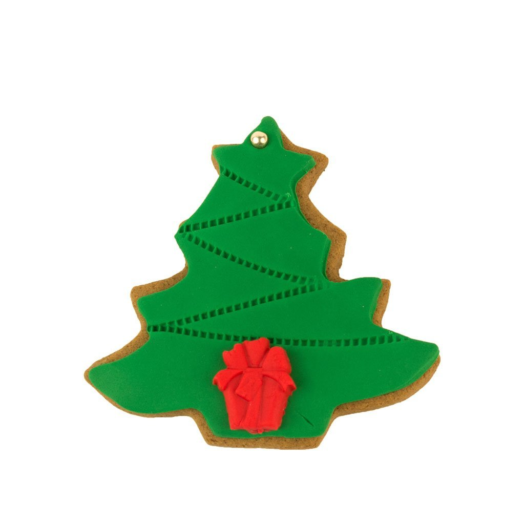 Gingerbread Tree Iced Biscuit with green and red icing shaped like a Christmas Tree
