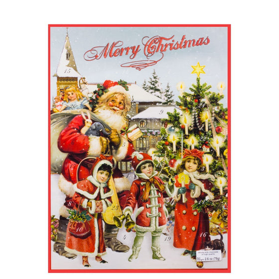 Heidel Santa Calendar with Santa, Victorian children & Christmas tree, blue sky