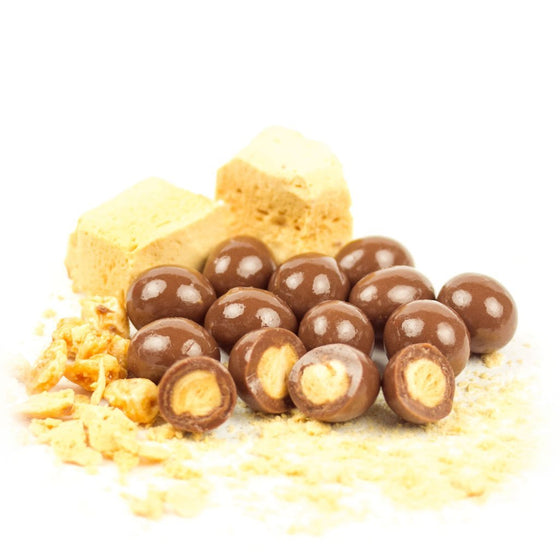 honeycomb balls in creamy milk chocolate