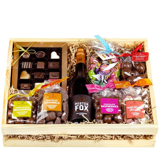 The Classic Crate, Wooden Box Hamper with Chocolate & Wine, 2.7kg (Free Standard Shipping)