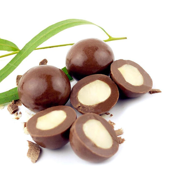 Lemon Myrtle Macadamias, Milk Chocolate 300g Bag