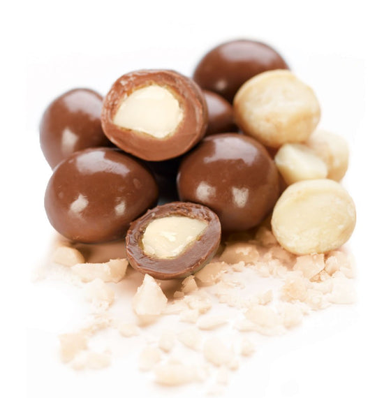 toffee coated Australian grown macadamia nuts enrobed in chocolate