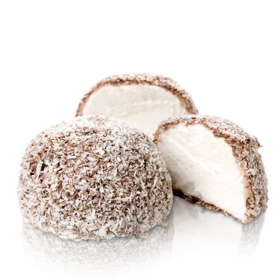 soft fluffy marshmallows in chocolate rolled in coconut