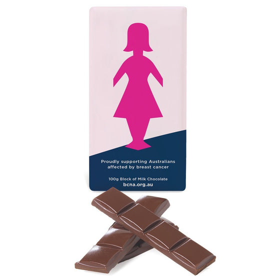 Breast Cancer Network Australia (BCNA) Pink Lady Block, Milk Chocolate 100g