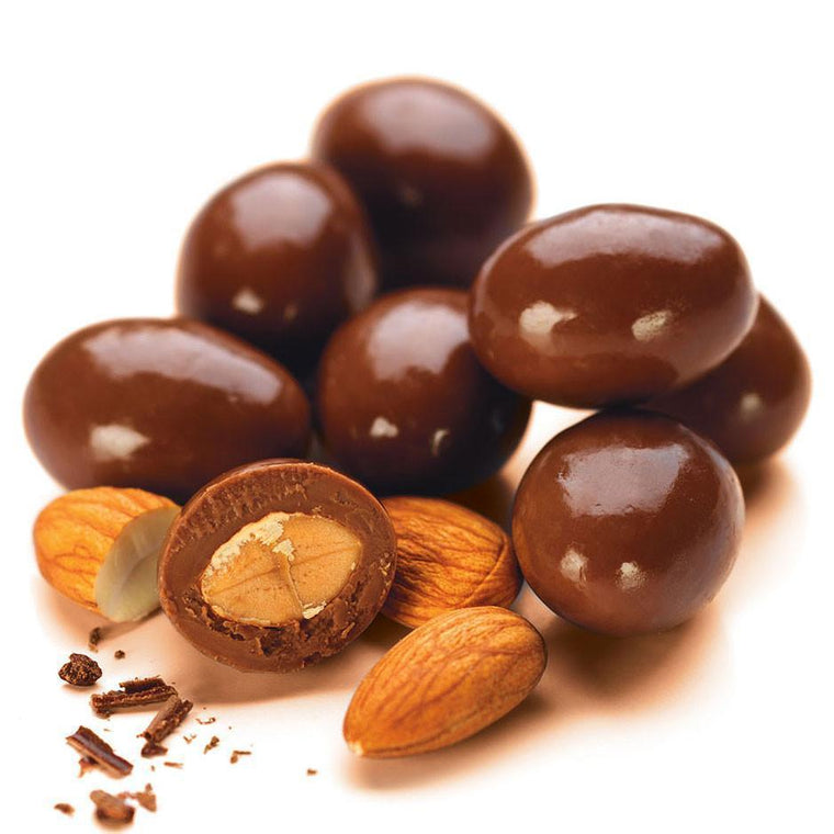 milk chocolate enrobed australian dry roasted almonds