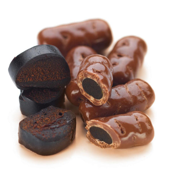 Licorice Logs, Milk Chocolate 1kg Bag