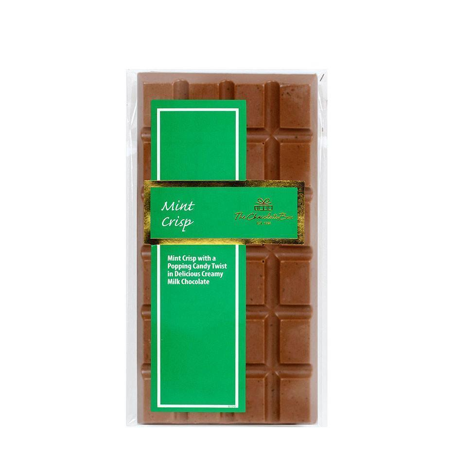 Mint Crisp and Popping Candy, Milk Chocolate Block 100g