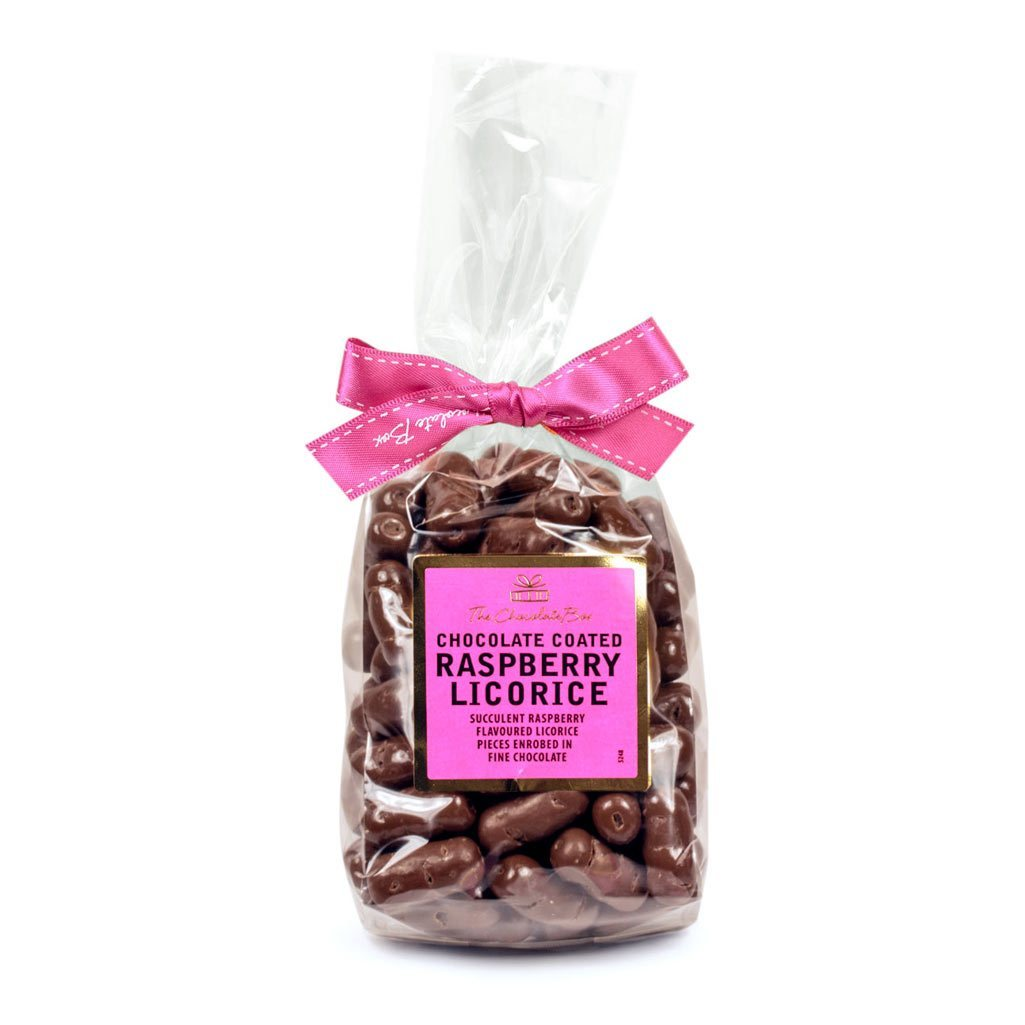 Raspberry Licorice Logs, Milk Chocolate 400g Bag