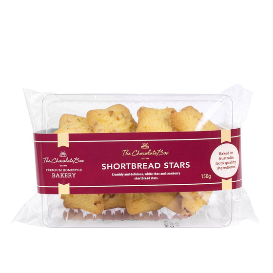 Christmas Shortbread Stars with Cranberry and White Chocolate, 150g