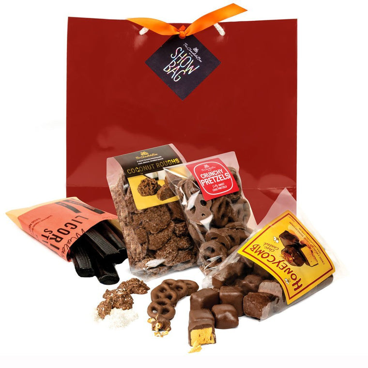 Show Bag with Licorice, Pretzels, Honeycomb & Coconut Roughs