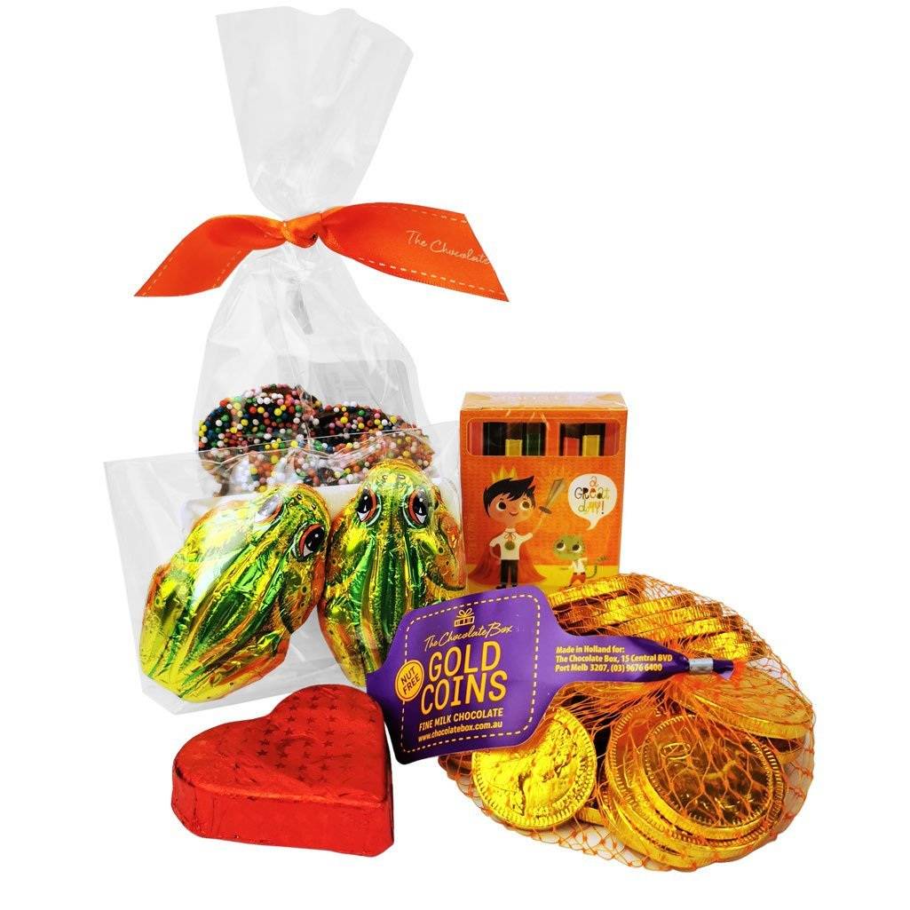kids showbag with chocolate coins and chocolate pencils