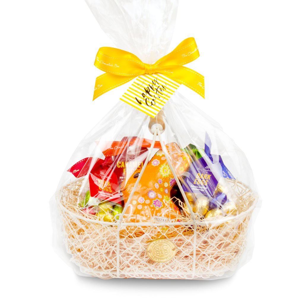 easter harvesting basket chocolate hamper with novelty be happy bunny, mini milk chocolate eggs, mini white chocolate eggs, mini dark chocolate eggs and mini caramel eggs