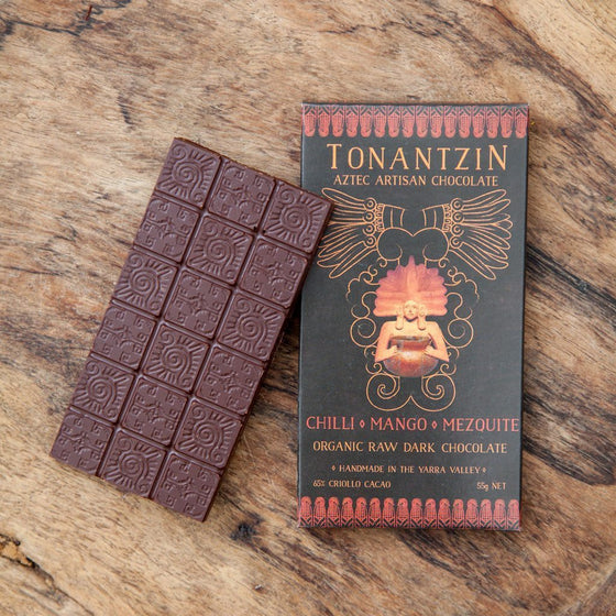 Tonantzin Aztec Chili, Mango & Mezquite, 65% Organic Raw Dark Chocolate Block 55g
