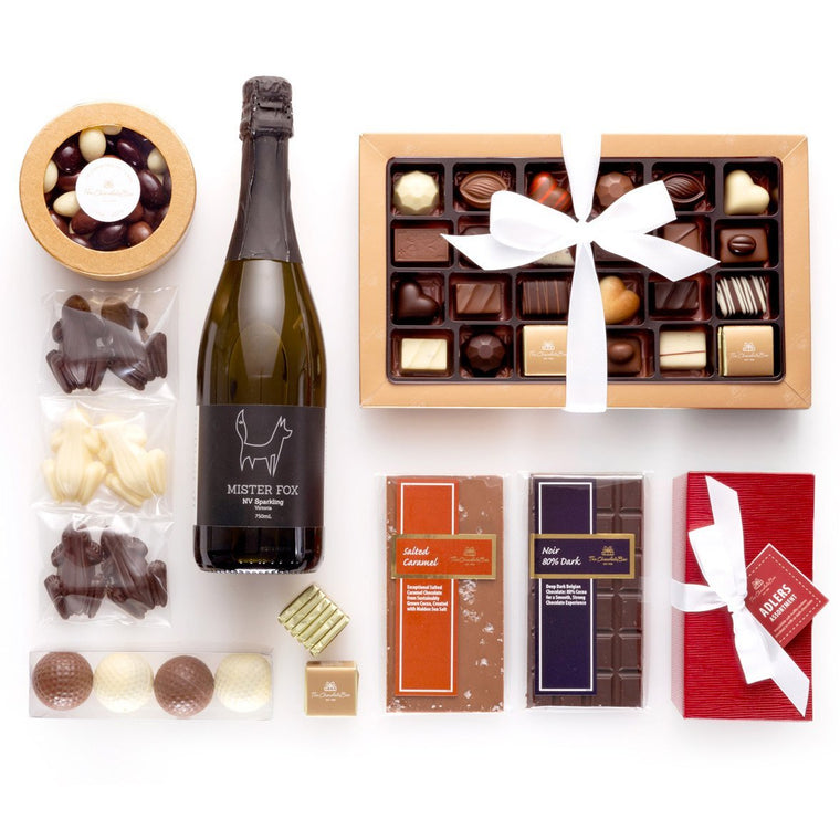 The White Label Hamper Box with Wine, with Product Options (Free Standard Australian Shipping)