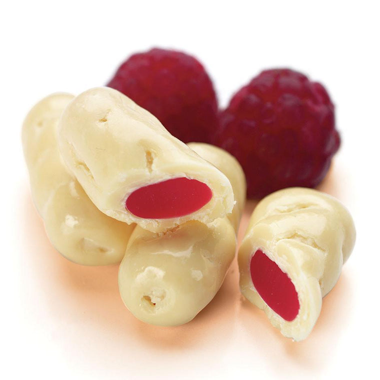 White Chocolate Raspberry Licorice Logs, 400g Bag