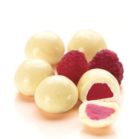 Raspberries, White Chocolate 1kg Bag