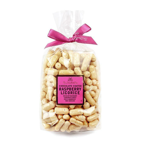 White Chocolate Raspberry Licorice Logs, 1kg Bag