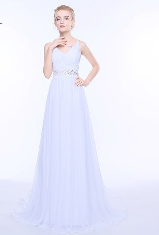 Wedding Dresses V-neck Sleeveless Long Beaded Chiffon