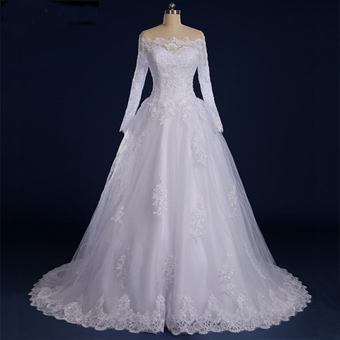 Wedding Dress See Through  Button Beaded Appliqued Long Sleeve Lace