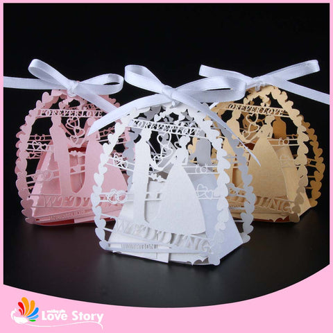 50pcs Bride and groom Laser Cut Wedding Favor Box