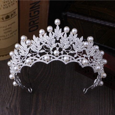 New Design Elegant Handmade pearl ladies Silver big crown rose flower crystal tiara for Bride Wedding hair Accessories