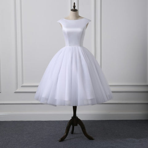 Short Cap Sleeves  Knee Length Scoop Neckline Simple Ball Gown Wedding Dresses Satin Tulle Natural Waist Bridal Dress New Style
